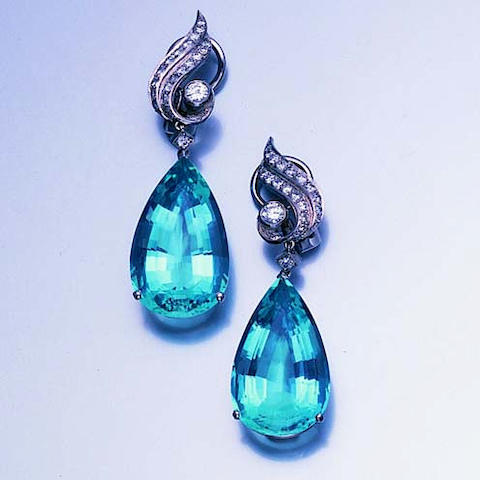 A pair of aquamarine and diamond earpendants,