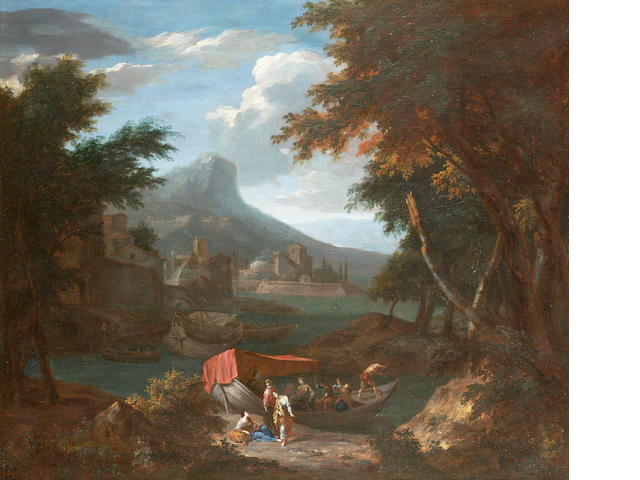 Circle of Cornelis Huysmans An Italianate landscape with **** 79 x 93.8 cm. (31 x 36 7/8 in.)
