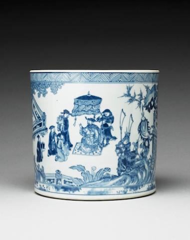 A fine blue and white brushpot, bitong Kangxi six-character mark and early in the period