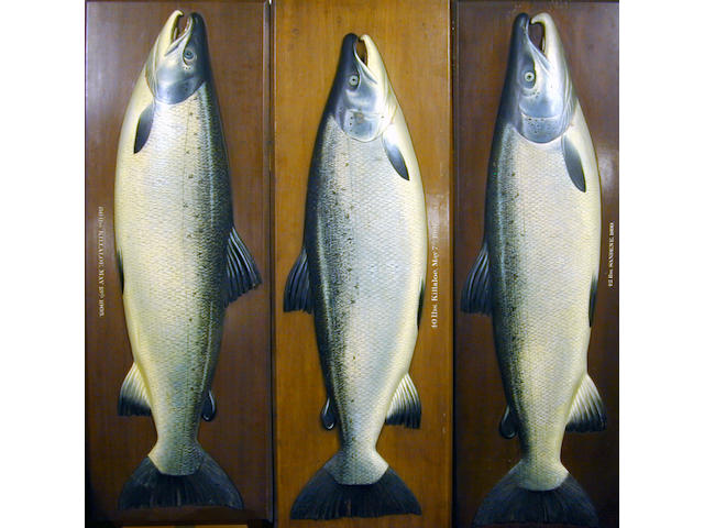 A finely carved and painted half block salmon by Farlow's