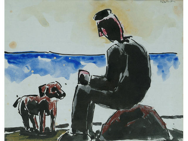 Josef Herman (British, 1911-1999) Seated man with dog 7 1/2 x 9 1/2 in.(19 x 24 cm.)