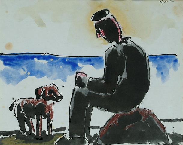 Josef Herman (British, 1911-1999) Seated man with dog 7 1/2 x 9 1/2 in.(19 x 24 cm.)