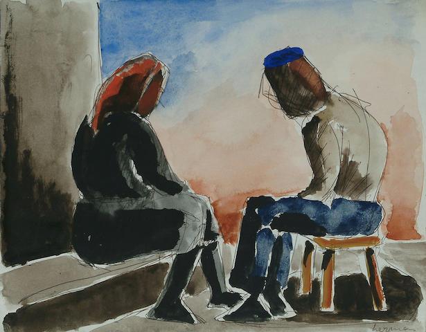 Josef Herman (British, 1911-1999) Two seated figures 7 1/2 x 9 3/4 in. (9 x 25cm.)