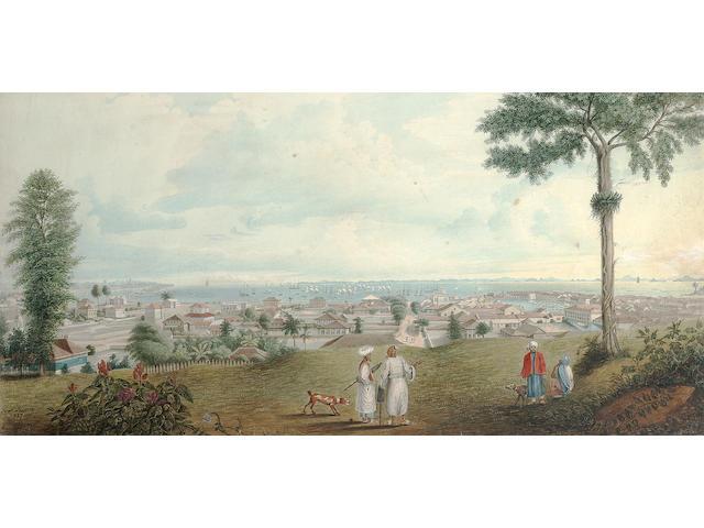 Jacob Janssen (Polish, 1779-1856) An extensive view of the port of Zanzibar, Tanzania 28 x 55.9 cm. (11 x 22 in.)