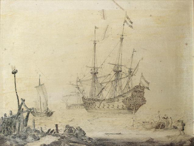 Ludolf Backhuysen (Emden 1631-1708 Amsterdam) Figures resting on the shore 33 x 45 cm. (13 x 17 ¾ in