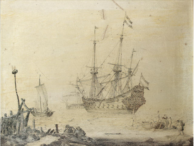 Ludolf Backhuysen (Emden 1631-1708 Amsterdam) A Danzig galleon 33 x 45 cm. (13 x 17 ¾ in.)