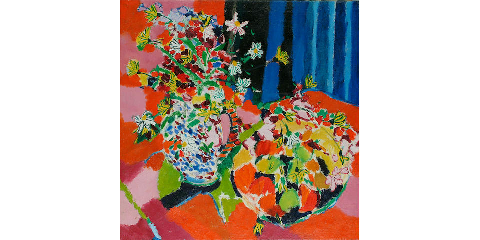 Philip Sutton (British, b.1928) Still life of mixed flowers and bowl 27 x 27 in. (68.5 x 68.5 cm.)