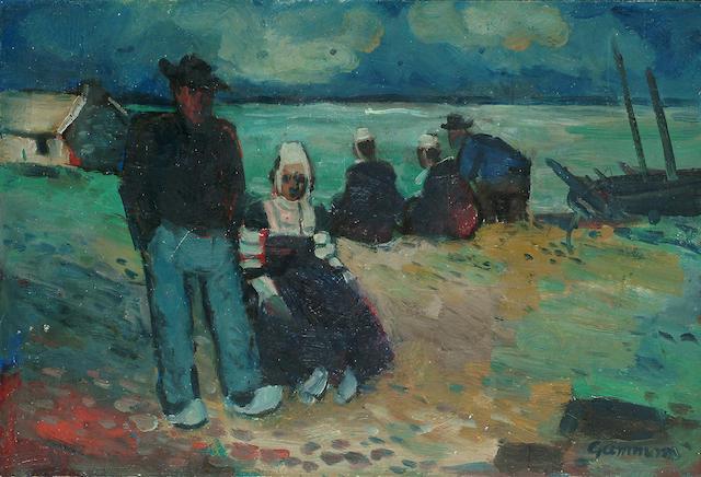 Reg Gammon (British, 1894-1997) Breton Sunday 8 1/2 x 12 3/4 in. (22 x 32.5cm.)