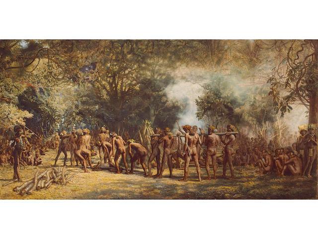Charles G Frazer, A Cannibal Feast on the Island of Tanna, o/c u/f