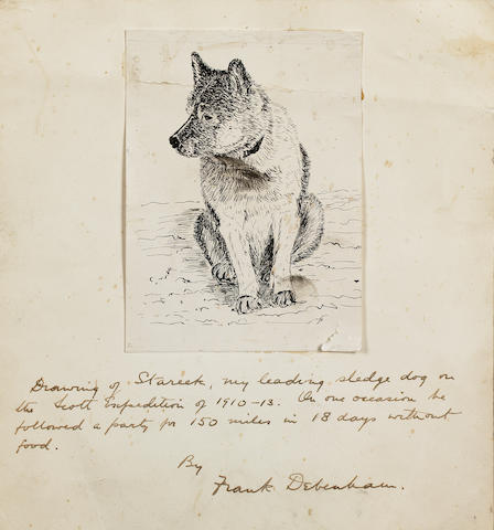 Prof. Frank Debenham O.B.E. (Australian, 1883-1965) Stareek, a sledge dog from Scott's last expedition of 1910-13 10.7 x 7.9 cm. (4 1/4 x 3 1/8 in.) unframed