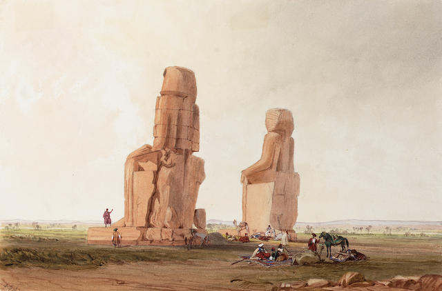 Attributed to Frederick Catherwood (British, 1799-1854) Arabs resting by the Colossi at Memnon, Theb