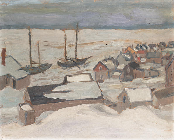 Sir Frederick Grant Banting (Canadian, 1891-1941) A settlement on the St Lawrence, winter 21.6 x 26.