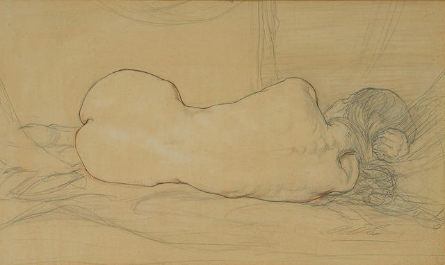 Austin Osman Spare (British, 1888-1956) Reclining female nude from the back 7 1/2 x 12 1/2 in. (19 x 32cm.)