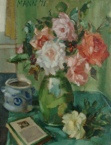 Cyril Mann (British, 1911-1980) Still life of roses in a green vase 28 x 21 3/4 in. (71 x 53cm.)