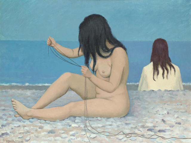 Clifford Hall (British, 1904-1973) Seated nude on a pebble beach 25 x 33 in. (63.5 x 84cm.)