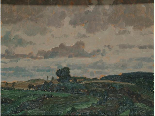 Otto Thiele (German, 1870-1955), Country landscape, 28 x 35.5cm.