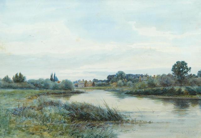 Robert Winter Fraser (1872-1930) A river landscape at Huntingdon, 37 x 54 cm (14½ x 21¼ in)