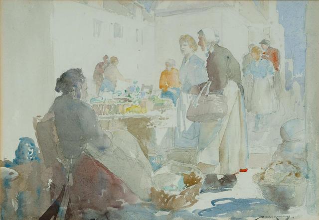 William Lee-Hankey (British, 1869-1952), French market scene, 26 x 37cm.