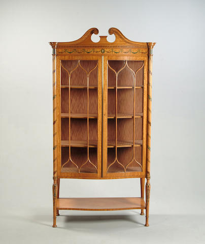 An Edwardian satinwood and polychrome decorated display cabinet