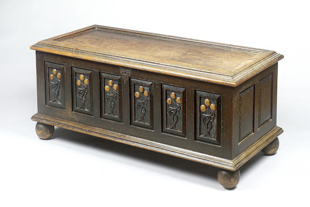 Charles Robert Ashbee for the Guild of Handicraft (Essex House), circa 1890 An Oak Panelled and Enamelled Coffer