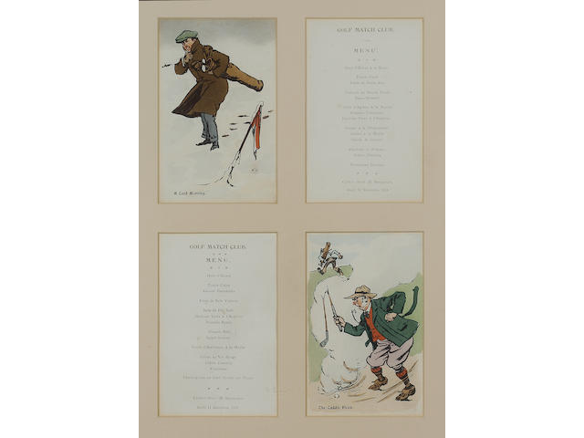 Menu - Golf Golf Match Club. Carlton Hotel & Restaurant, 11 and 13 June, 1913, together 2 menus