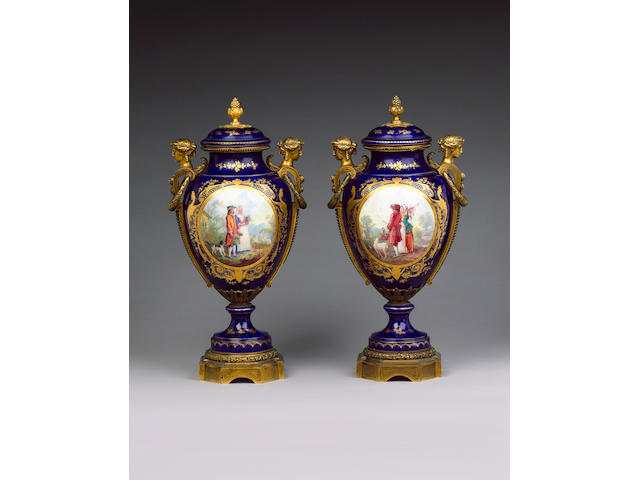 A large pair of Sevres style vases and covers late 19th century
