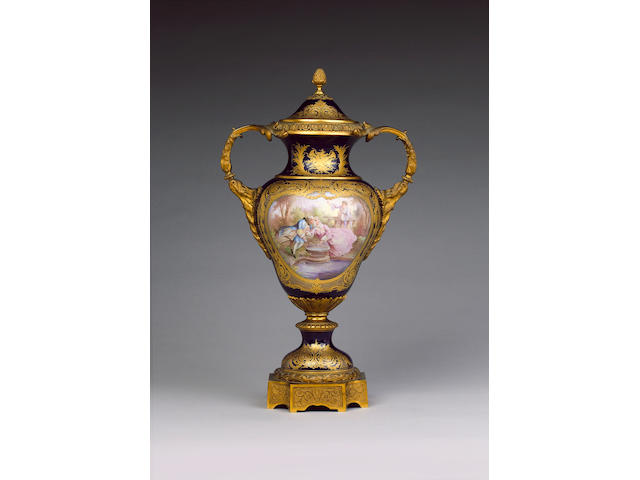 A large Sevres style vase and cover late 19th century