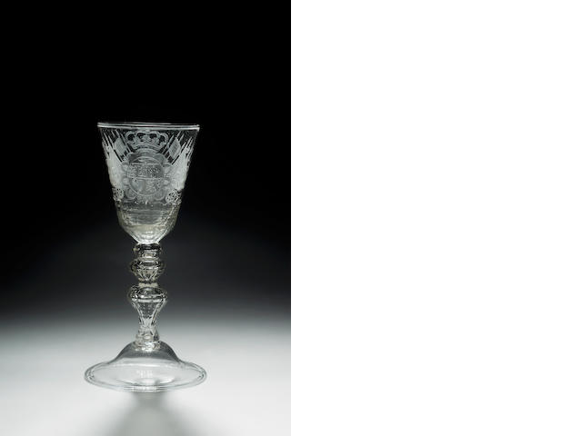 A Dutch-engraved royal armorial goblet circa 1750