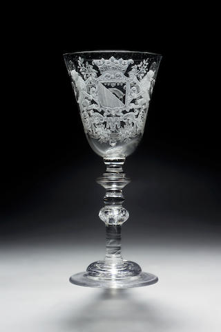 A very fine Dutch-engraved armorial wine glass circa 1730-40