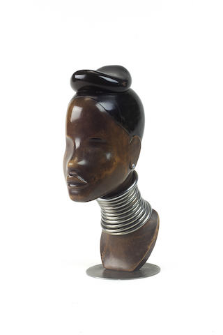 Franz Hagenauer, circa 1920 A Carved and Ebonised Wooden Bust of a Female