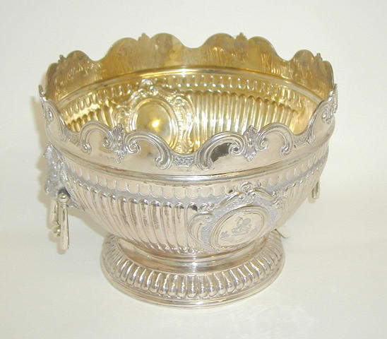 A Victorian monteith style punch bowl, by Martin and Hall, 1892,