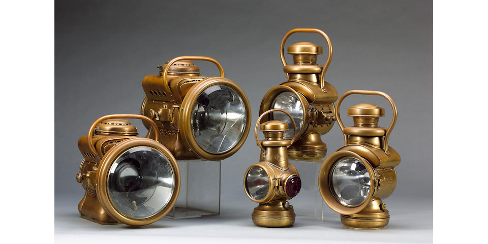A fine set of Powell & Hanmer acetylene lamps, British, circa 1905,
