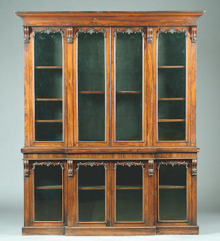 A William IV rosewood breakfront bookcase cabinet,