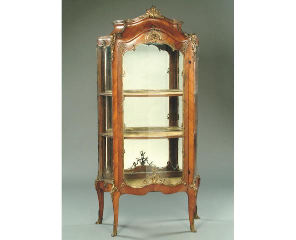 A late 19th Century French kingwood vitrine,