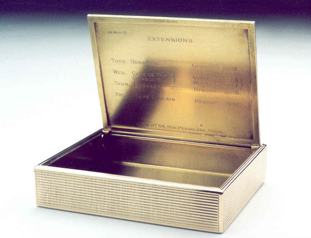A good 9 carat gold cigarette case  Cartier London