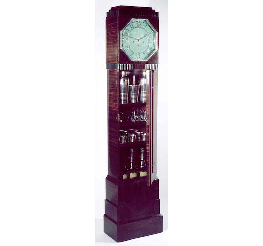 A very rare Art Deco cocktail cabinet and longcase clock  Asprey, London