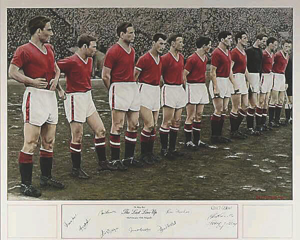 "Original painting ""The Busby Babes Last Line Up"""