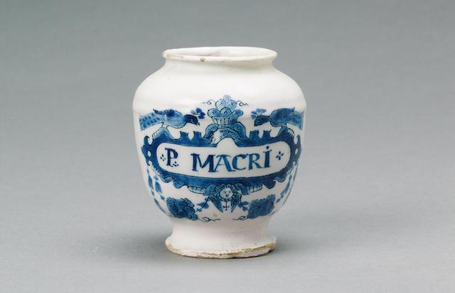 A Dutch Delft pill jar circa 1730