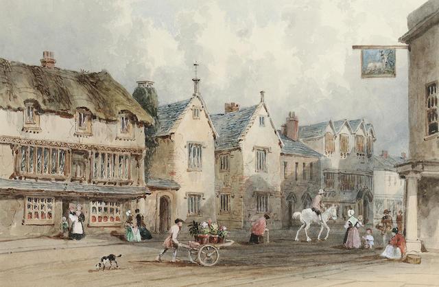 George Sidney Shepherd N.W.S. (British, 1784-1862) Fore Street, Cullompton, Devon 19 x 28 cm. (7 1/2 x 11 in.)