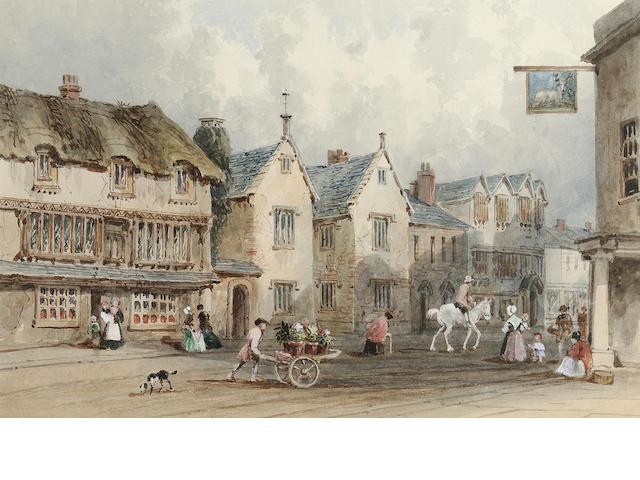 George Sidney Shepherd N.W.S. (British, 1784-1862) Fore Street, Cullompton, Devon 19 x 28 cm. (7 1/2