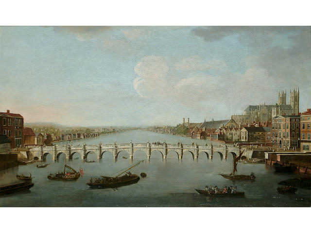 Joesph Nicholls (British, 18th Century) A View of Westminster Bridge, 26 3/4  x 44 7/8 in. (68 x 114 cm.)