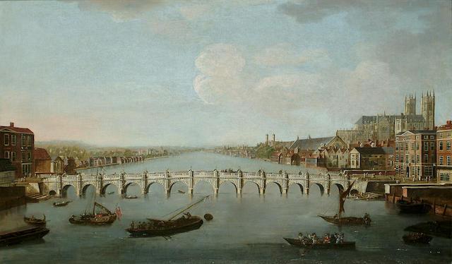 Joesph Nicholls (British, 18th Century) A View of Westminster Bridge, 26 3/4  x 44 7/8 in. (68 x 114 cm.)