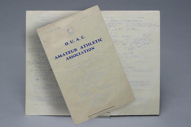 Roger Bannister 4 minute mile signed programme,