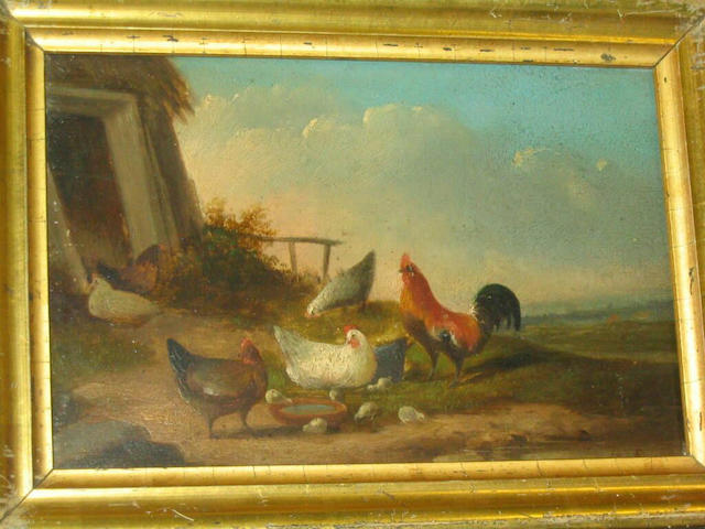 Follower of Franz van Severdonck Cockerel and chickens feeding before a landscape, and another similar, 14 x 22cm.