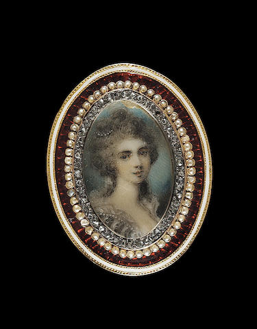 Richard Cosway R.A., A double-sided miniature of Princess Elizabeth (1770-1840) and Princess Sophia (1768-1840): one, wearing wing collar; the other, wearing black and white striped dress with white ruff collar and pearls in her hair