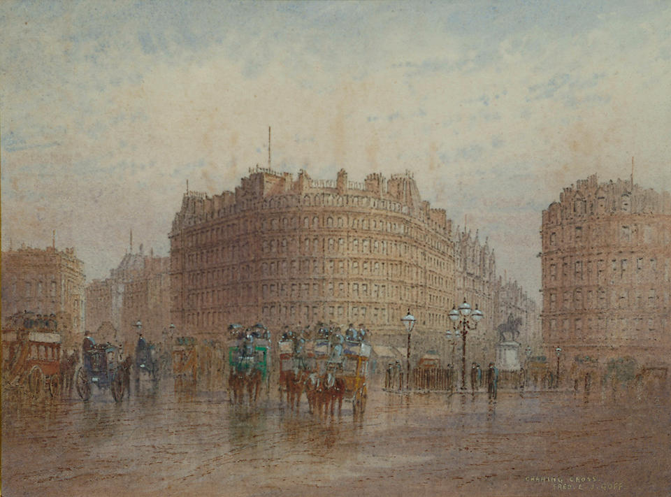 Frederick E.J.Goff (British, 1855-1931) The Strand; Charing Cross, each 4 1/2 x 6 1/8 in. (11.5 x 15.5 cm.) (2).