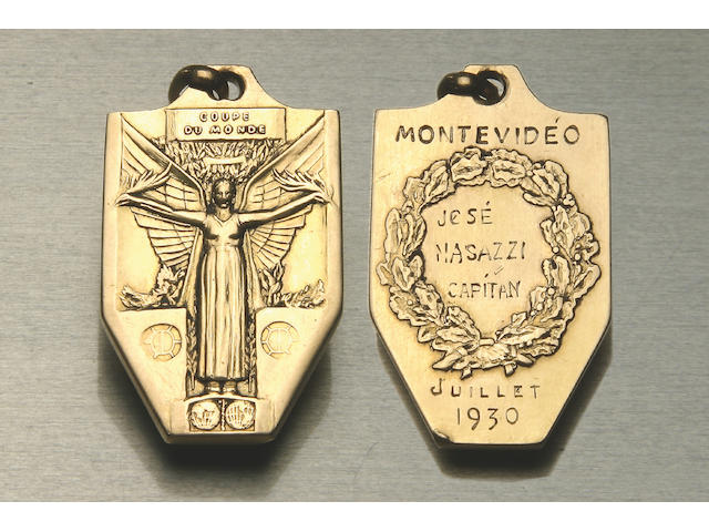 1930 World Cup winners Gold medal for Jose Nasazzi,    21mm x 35mm,