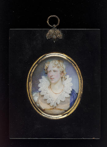 Andrew Robertson M.A., Miss Wilhelmina Macleod, wearing peach-coloured dress with large white lace collar and white sleeves, coral ribbon necklace and blue shawl over her shoulders