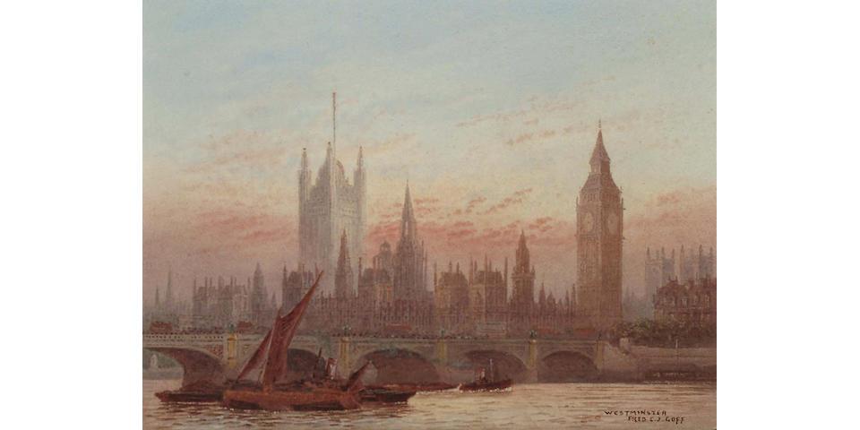 Frederick E.J.Goff (British, 1855-1931) London Bridge; Westminster, 4 1/2 x 6 in (11.5 x 15 cm), (2)