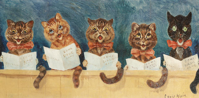 Louis William Wain (British, 1860-1939) Come Birdie Come 29 x 59.5 cm. (11 1/2 x 23 1/2 in.)
